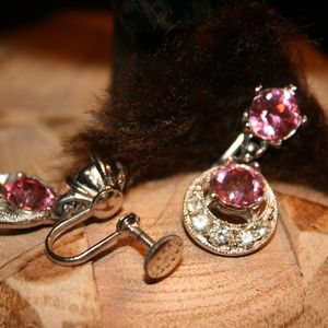 Vintage Pink Screwback Earrings